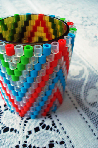 woven perler bead tea light covers