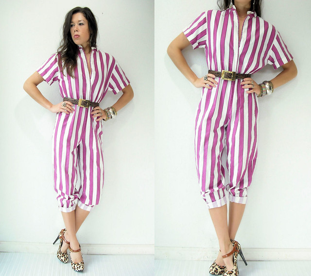 berry striped jumpsuit