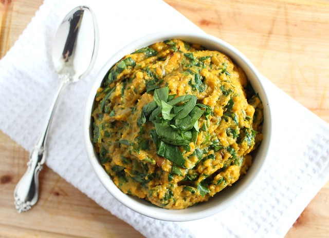 Goat cheese mashed sweet potatoes with spinach