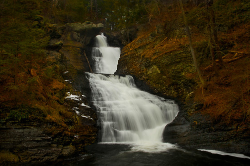 longexposure winter nature water pool landscape golden three waterfall glow pennsylvania falls pa caramel flowing tiers raymondskill