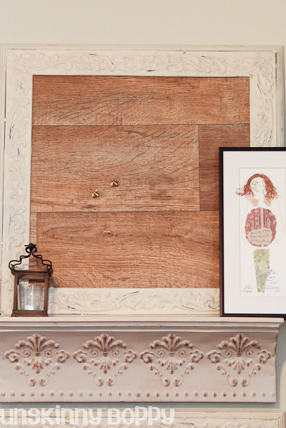diy corkboard with fake wood planks