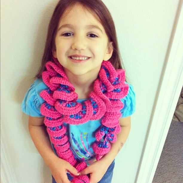 Emma loved her new scarf! She wore it to school yesterday! #crochet #imadeitmyself