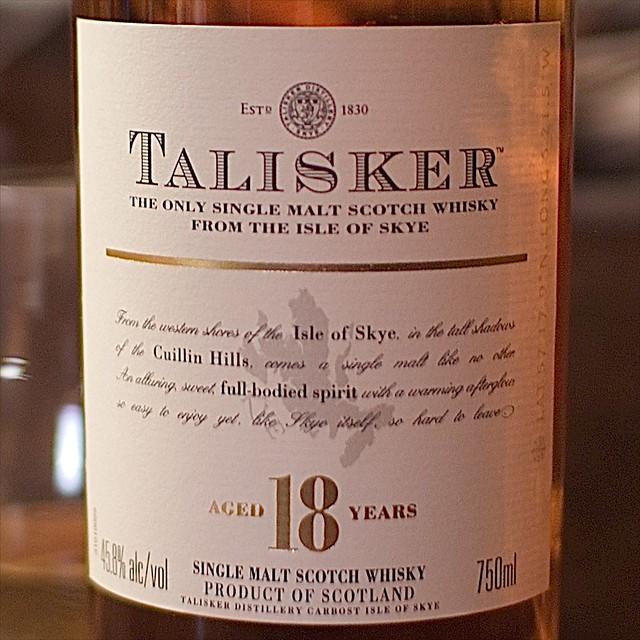 Talisker 18 Label