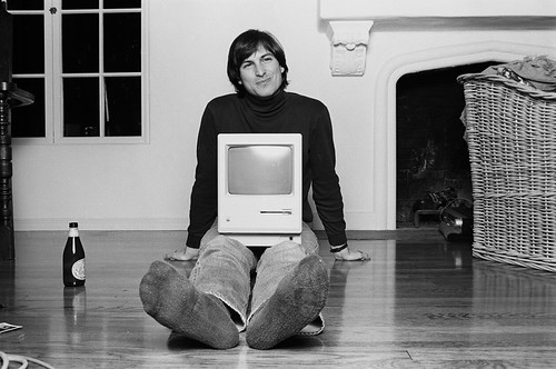 Steve Jobs with 1984 Macintosh by Norman Seeff