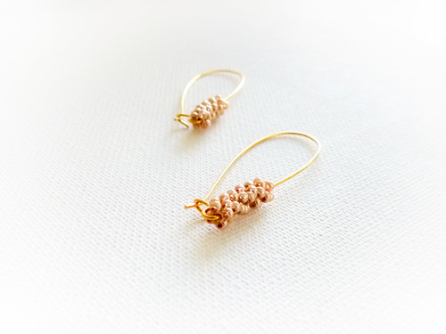 Golden wheat ears earrings