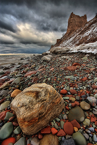 chimney bluff state park upstate new york ny lake ontario winter snow ice rock clouds landscape waterfallguy canon beach hdr