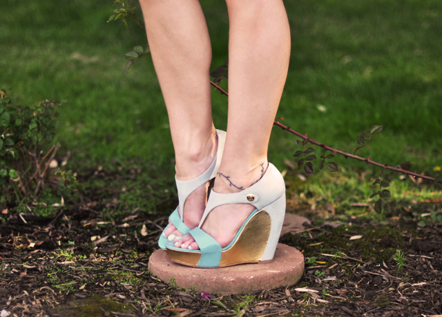 velvet angels  mint  and gold platform wedges