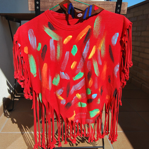 disfraz poncho indio con camiseta