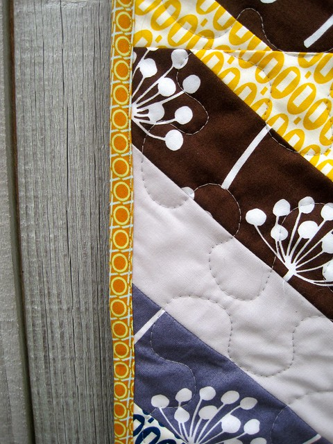 binding on Herringbone quilt
