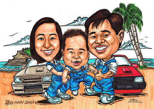 Family caricatures @ Bali beach