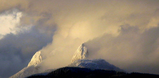 MOUNT ROBIE REID OF THE GARIBALDI MOUNTAIN RANGE, INVOLVED WITH A SUPER SNOW AND WIND STORM.  FRASER VALLEY,  BC.
