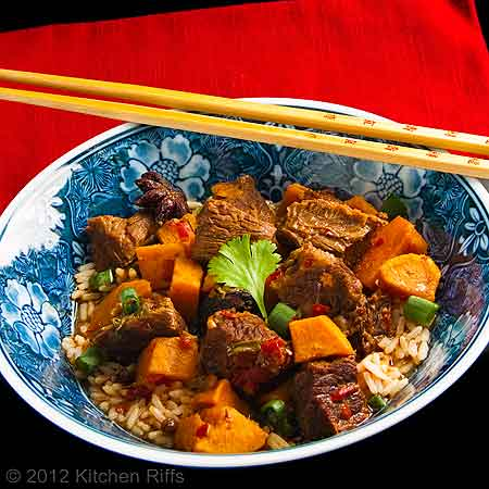 Red-Braised Beef with Sweet Potatoes in Rice Bowl