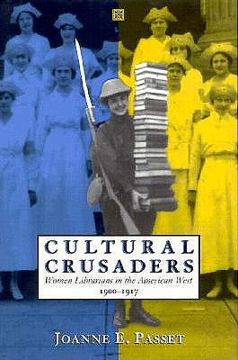 The cover to the book 'Cultural Crusaders' featuring a woman in the West carrying a large stack of books.