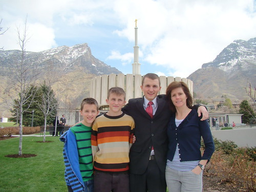 Mom and boys at temple