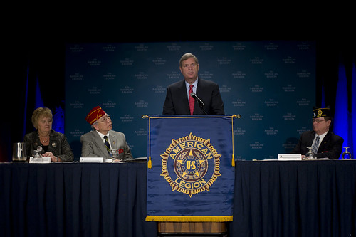 U.S. Secretary of Agriculture Tom Vilsack speaks to the American Legion prior to signing  a memorandum of understanding with the American Legion which will help our Nation's veterans and transitioning military service members find positions that promote agriculture, animal and plant health, food safety, nutrition, conservation and rural communities at the Washington Hilton in Washington, D.C., on Tuesday February 28, 2012.   USDA Photo by Johnny Bivera.