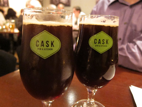 enjoying a beer at Cask