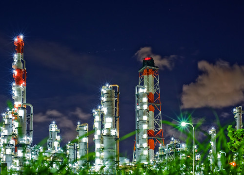 [フリー画像素材] 建築物・町並み, 工場, 夜景, 風景 - 日本 ID:201203091600