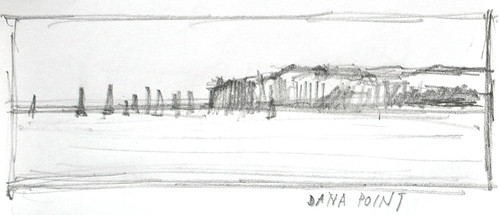 Landscape drawing, Dana Point, San Juan Capistrano, California