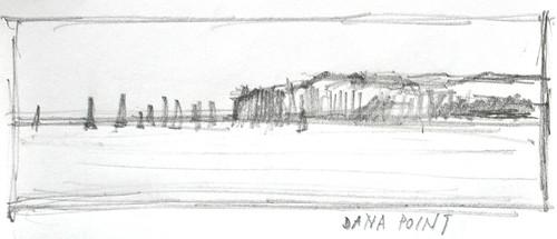 Landscape drawing, Dana Point, San Juan Capistrano, California