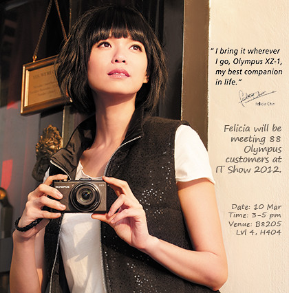 Felicia Chin headlines Olympus booth at IT Show 2012.
