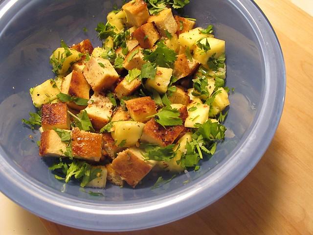 tofu, pineapple, cilantro
