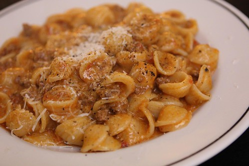 Orecchiette with Creamy Tomato Meat Sauce and Bella Lodi