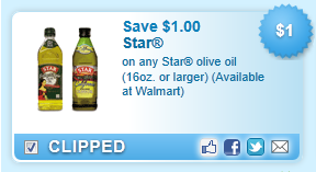Star Olive Oil (16oz. Or Larger) (available At Walmart)  Coupon