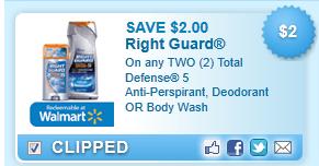 Total Defense 5 Anti-perspirant, Deodorant Or Body Wash  Coupon