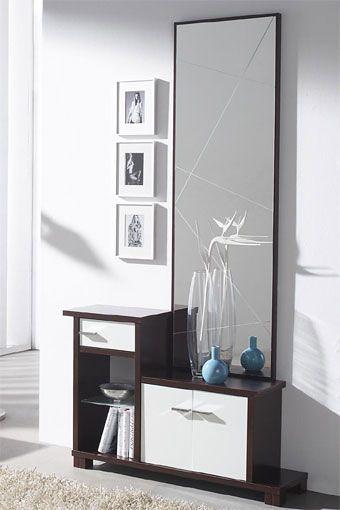Recibidor con espejo y taquill n en un estilo moderno y - Recibidores con espejos grandes ...