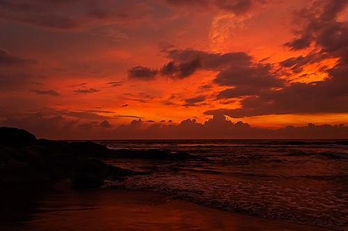 ocean travel sunset sea sky beach water clouds asia srilanka bentota