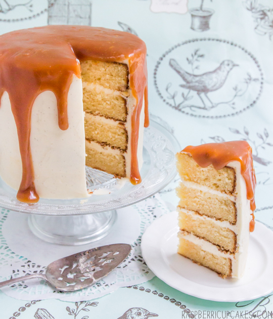 Brown Butter Layer Cake with Vanilla Bean Icing & Salted Caramel