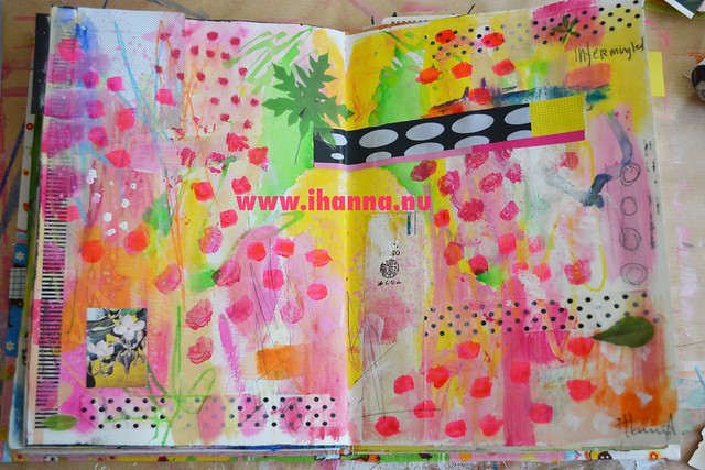 Art journal spread: Neon Love