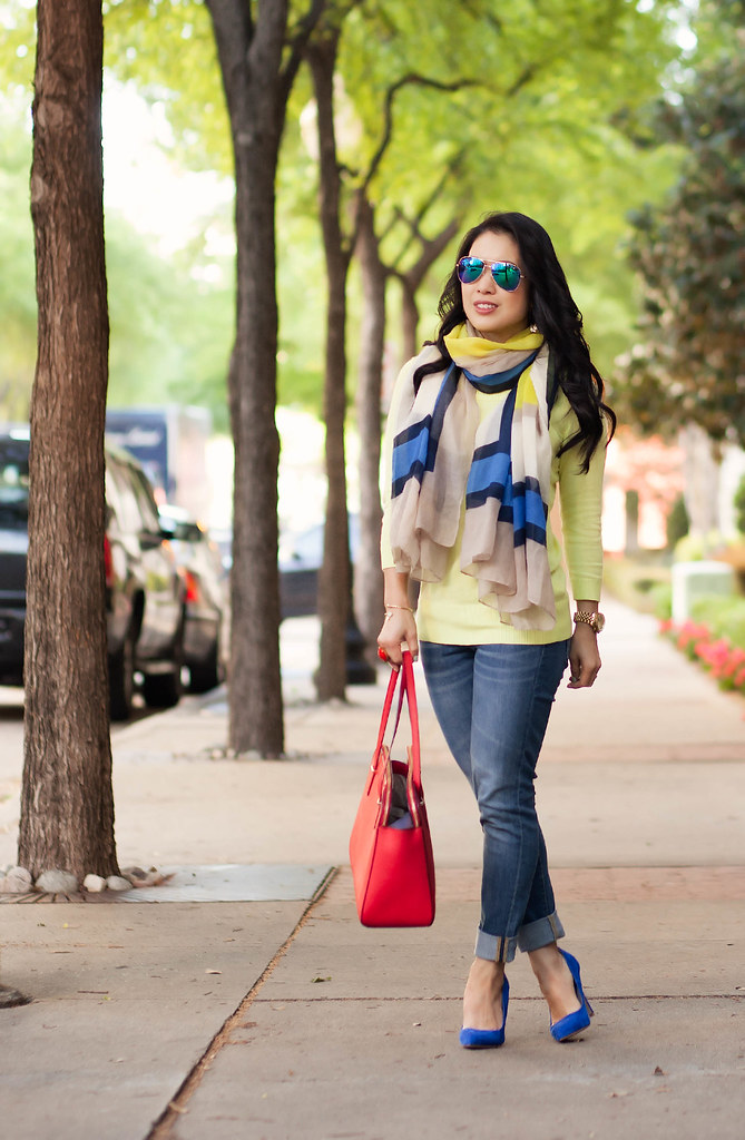 cute & little blog | petite fashion | spring outfit | neon yellow sweater, cobalt colorblock scarf, rolled jeans, red kate spade elissa bag, blue mirrored aviators