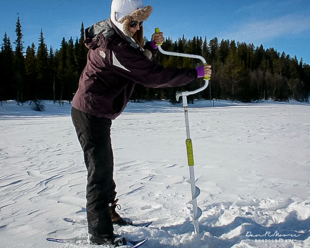 An Arctic Adventure in Swedish Lapland - Drilling an Ice Hole