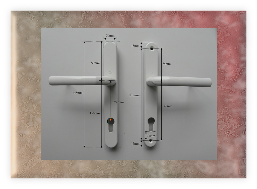 Hoppe white pz92 215mm screw centres inline handles for for Upvc offset french doors