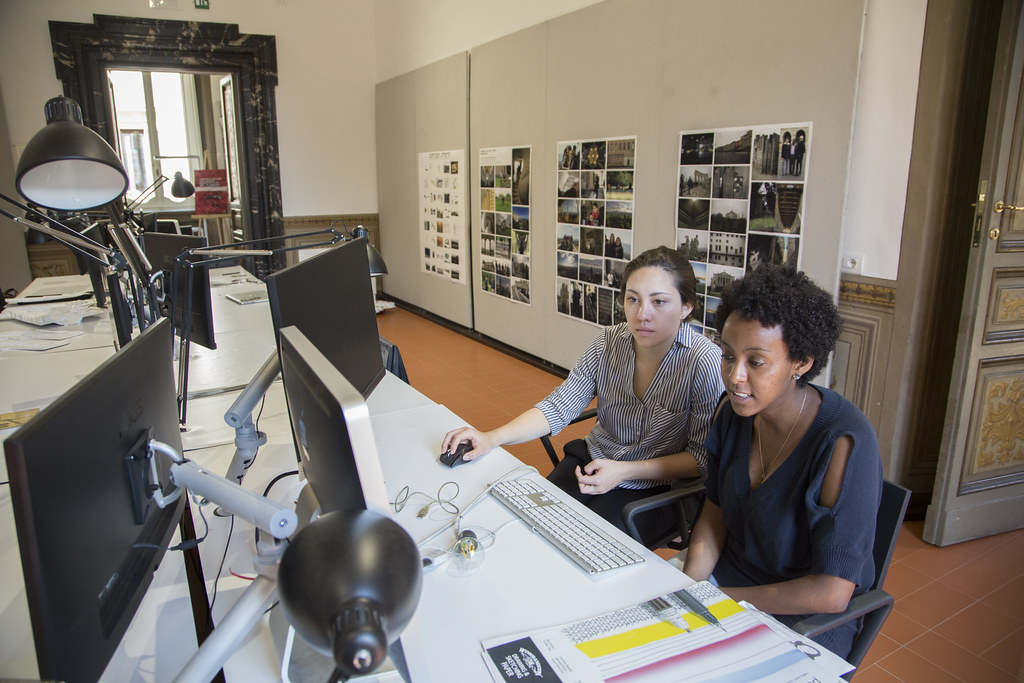 Students in one of the architecture studios.