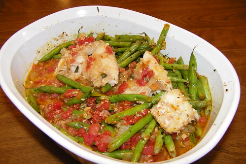 Baked Ocean Perch with Green Beans
