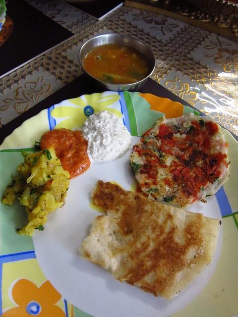 Masala Dosa, Tomato and Coconut Chutney, Sambar Dal, Uttapam
