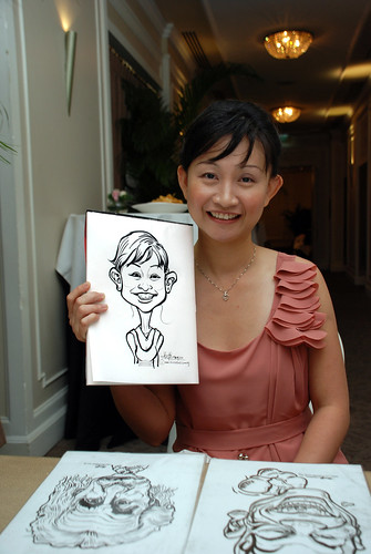caricature live sketching for wedding dinner @ Goodwood Park Hotel - 1