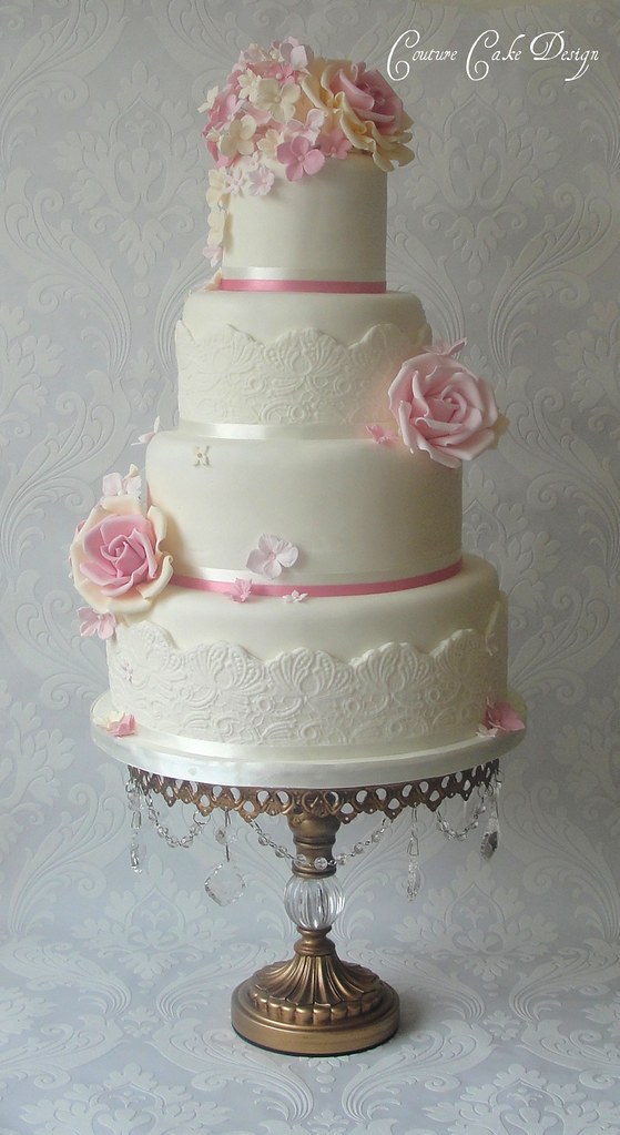 Pinks Cream Lace Wedding Cake Ps New Cake Stand Flickr