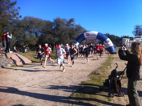 The Lost Trail Half Marathon runners heading out.