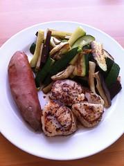 Seared scallops, baked sweet potato, roasted eggplant and zucchini