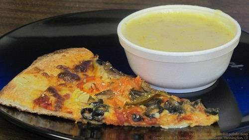 Veggie pizza and loaded potato soup by Coyoty