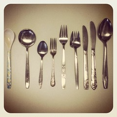 Thrifted cutlery 10c each: yes please!