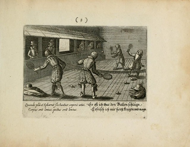 17th century tennis match engraving