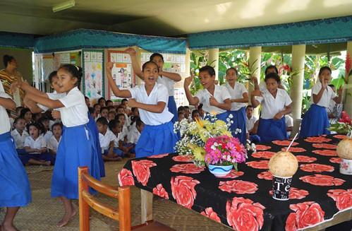 Young ladies of Falue Primary School perform a graceful siva.