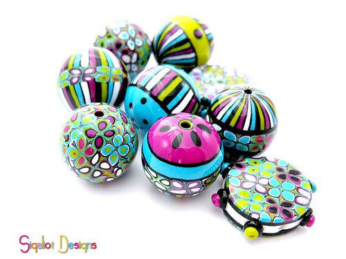round striped beads mix1-2