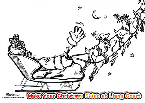 Reindeer Christmas caricature template for Liang Court