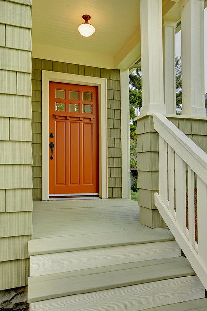 Front poorch and door of the green house flickr photo sharing - Orange exterior paint decor ...