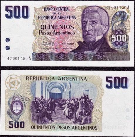 500 Pesos Argentinos Argentína 1984, Pick 316